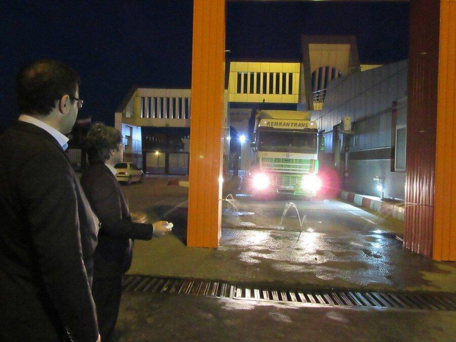 کامیون های ورودی از جمهوری آذربایجان به کشور ضدعفونی می شود